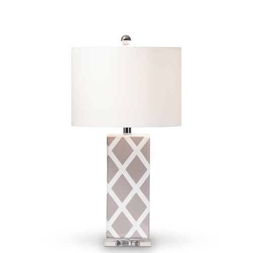 Baxton Studio Selia Modern and Contemporary Gray and White Diamond Patterned Ceramic Table Lamp