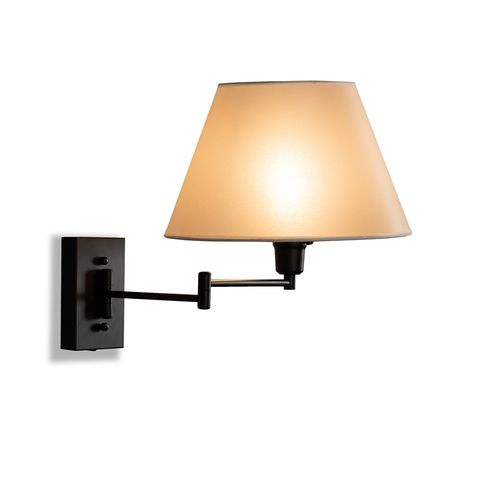 Baxton Studio Klasina Transitional Black Metal Swing Arm Wall Sconce Lamp
