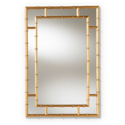 Baxton Studio Adra Modern and Contemporary Gold Finished Bamboo Accent Wall Mirror