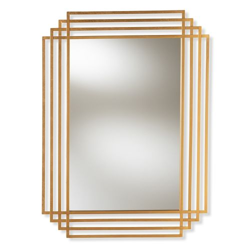 Baxton Studio Kalinda Art Deco Antique Gold Finished Rectangular Accent Wall Mirror