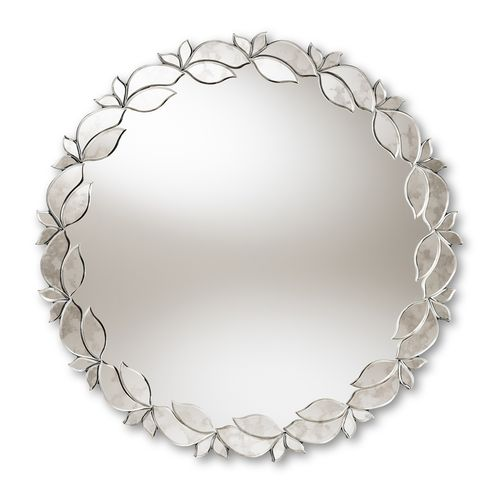 Baxton Studio Luiza Modern and Contemporary Silver Finished Round Petal Leaf Accent Wall Mirror