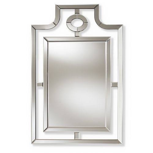 Baxton Studio Iria Modern and Contemporary Silver Finished Pagoda Wall Accent Mirror