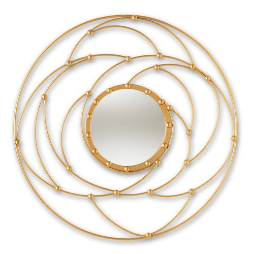 Baxton Studio Marisol Modern and Contemporary Antique Gold Finished Round Accent Wall Mirror