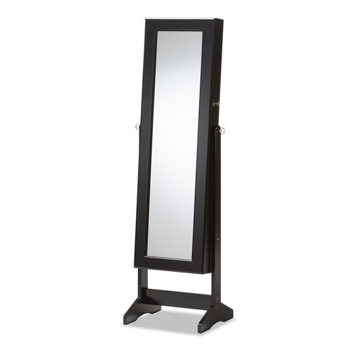 Baxton Studio Alena Black Finishing Wood Free Standing Cheval Mirror Jewelry Armoire