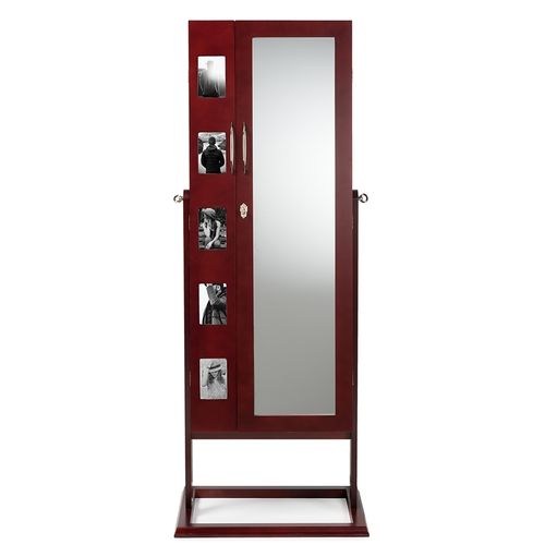 Baxton Studio Vittoria Brown Finish Wood Square Foot Floor Standing Double Door Storage Jewelry Armo