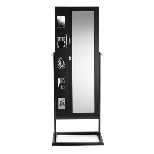 Baxton Studio Vittoria Black Finish Wood Square Foot Floor Standing Double Door Storage Jewelry Armo