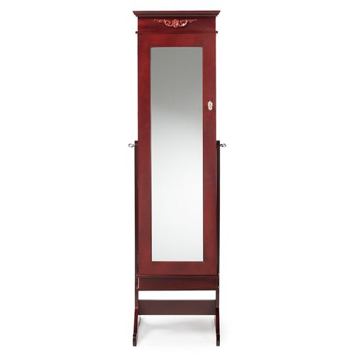 Baxton Studio Bimini Brown Finish Wood Crown Moulding Top Free Standing Full Length Cheval Mirror Je