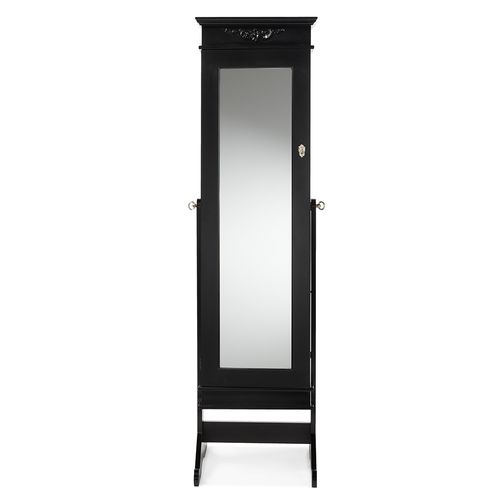 Baxton Studio Bimini Black Finish Wood Crown Moulding Top Free Standing Full Length Cheval Mirror Je