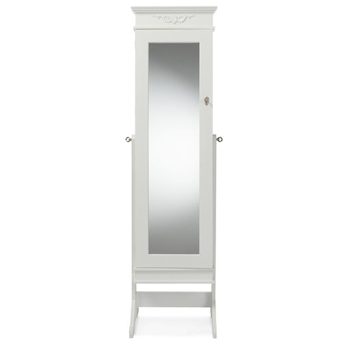 Baxton Studio Bimini White Finish Wood Crown Moulding Top Free Standing Full Length Cheval Mirror Je