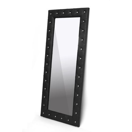 Baxton Studio Stella Crystal Tufted Black Modern Floor Mirror