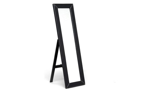 Baxton Studio McLean Dark Brown Modern Mirror with Built-In Stand