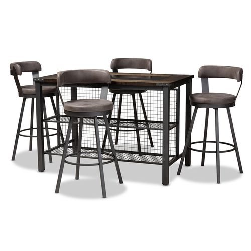 Baxton Studio Arcene Rustic and Industrial Antique Grey Faux Leather Upholstered 5-Piece Pub Set