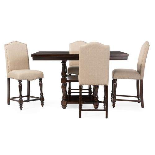 Baxton Studio Zachary Chic French Vintage Oak Brown 5-Piece Square Counter Pub Set