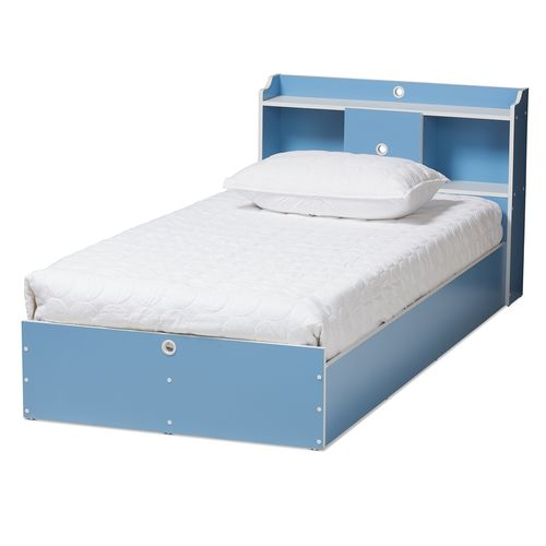 Baxton Studio Aeluin Contemporary Children's Blue and White Finished 2-Piece Bedroom Set