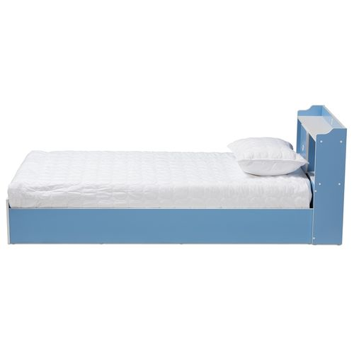 Baxton Studio Aeluin Contemporary Children's Blue and White Finished Platform Bed