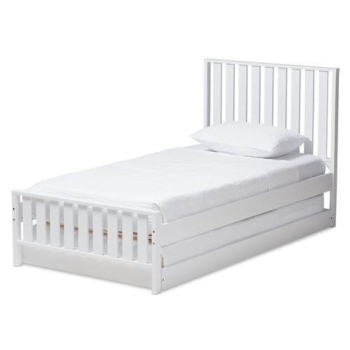 Baxton Studio Harlan Modern Classic Mission Style White-Finished Wood Twin Platform Bed with Trundle