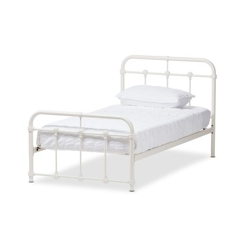 Baxton Studio Mandy Industrial Style Antique White Twin Size Metal Platform Bed