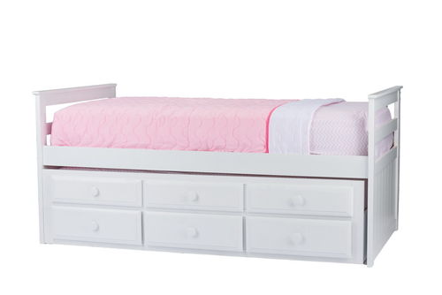 Baxton Studio Ballina White Wood Contemporary Twin-Size Trundle Bed