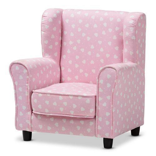 Baxton Studio Selina Modern and Contemporary Pink and White Heart Patterned Fabric Upholstered Kids