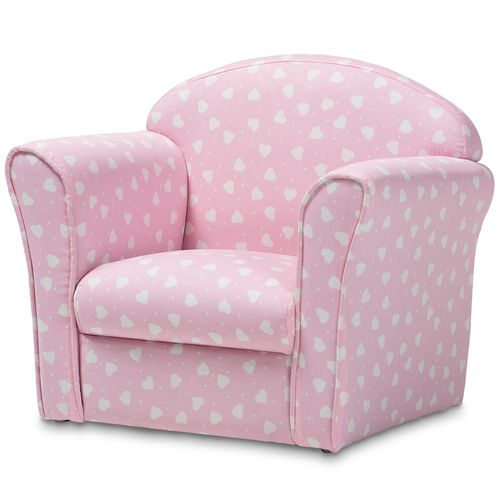 Baxton Studio Erica Modern and Contemporary Pink and White Heart Patterned Fabric Upholstered Kids A