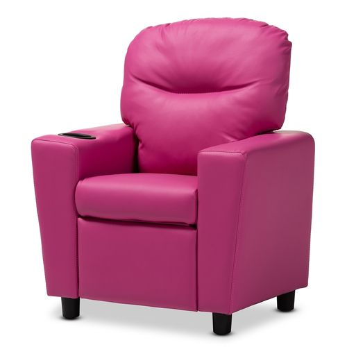 Baxton Studio Evonka Modern and Contemporary Magenta Pink Faux Leather Kids Recliner Chair