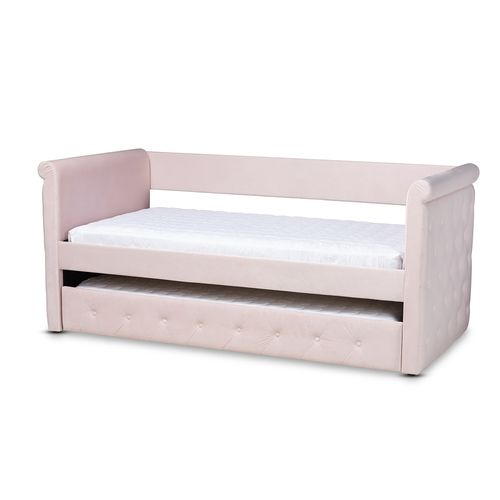 Baxton Studio Amaya Modern and Contemporary Light Pink Velvet Fabric Upholstered Twin Size Daybed wi