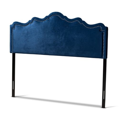 Baxton Studio Nadeen Modern and Contemporary Navy Blue Velvet Fabric Upholstered King Size Headboard
