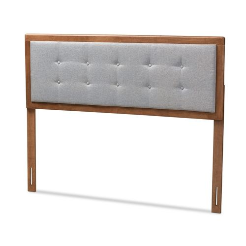 Baxton Studio Sarine Mid-Century Modern Light Grey Fabric Upholstered Walnut Brown Finished Wood Que
