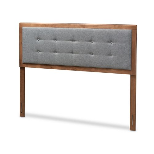 Baxton Studio Sarine Mid-Century Modern Dark Grey Fabric Upholstered Walnut Brown Finished Wood Quee
