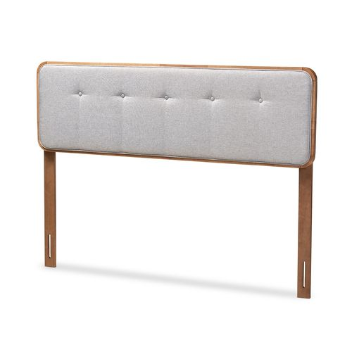 Baxton Studio Palina Mid-Century Modern Light Grey Fabric Upholstered Walnut Brown Finished Wood Que