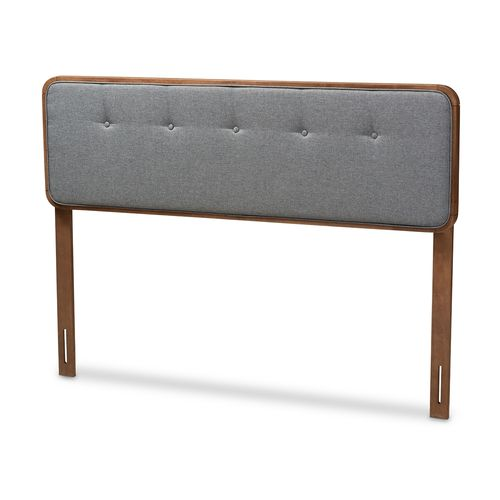 Baxton Studio Palina Mid-Century Modern Dark Grey Fabric Upholstered Walnut Brown Finished Wood Quee