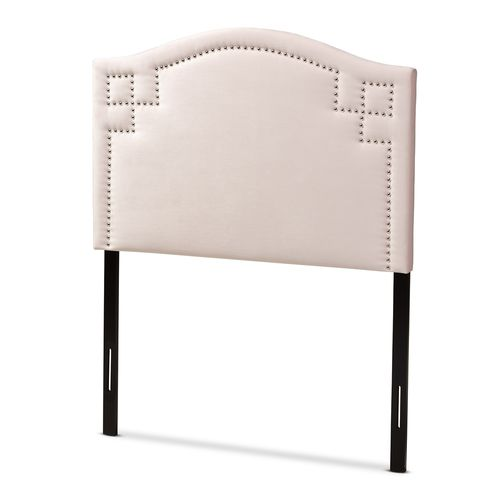 Baxton Studio Aubrey Modern and Contemporary Light Pink Velvet Fabric Upholstered Twin Size Headboar