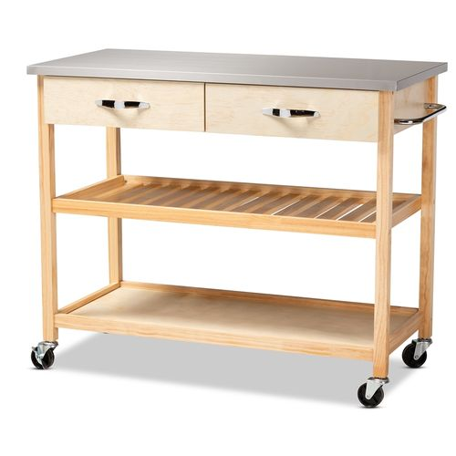 Baxton Studio Cresta Modern and Contemporary Pine Wood and Stainless Steel 2-Drawer Kitchen Island U