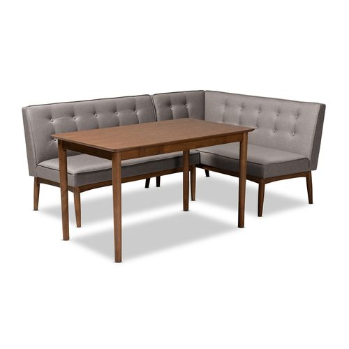 Baxton Studio Arvid Mid-Century Modern Gray Fabric Upholstered 3-Piece Wood Dining Nook Set