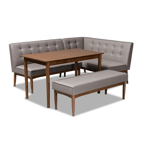 Baxton Studio Arvid Mid-Century Modern Gray Fabric Upholstered 4-Piece Wood Dining Nook Set