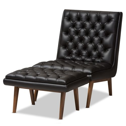 Baxton Studio Annetha Mid-Century Modern Black Faux Leather Upholstered Walnut Finished Wood Chair A