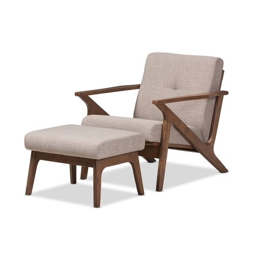 Baxton Studio Bianca Mid-Century Modern Walnut Wood Light Grey Fabric Tufted Lounge Chair And Ottoma