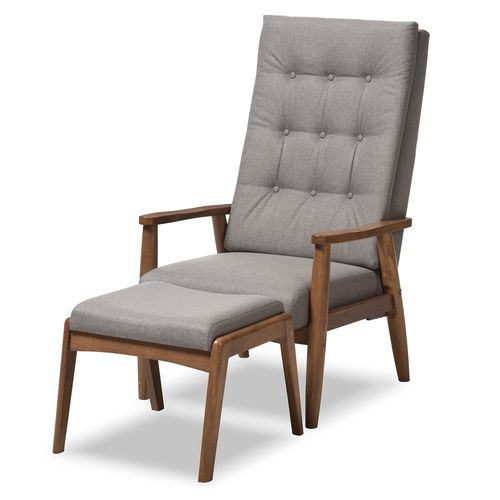 Baxton Studio Roxy Mid-Century Modern Walnut Wood Finishing and Grey Fabric Upholstered Button-Tufte