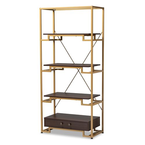 Baxton Studio Cerelia Modern and Contemporary Gold-Tone Steel and Dark Brown Finished Wood 3-Shelf A