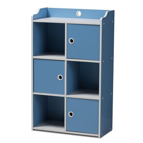 Baxton Studio Aeluin Contemporary Children's Blue and White Finished 3-Door Bookcase