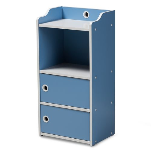 Baxton Studio Aeluin Contemporary Children's Blue and White Finished 2-Door Bookcase