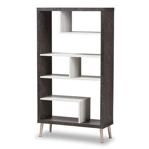 Baxton Studio Atlantic Modern and Contemporary Dark Brown and Light Grey Two-Tone Finished Wood Disp