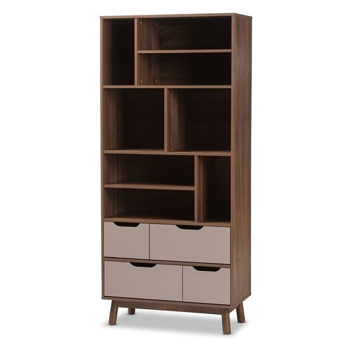 Baxton Studio Britta Mid-Century Modern Walnut Brown and Grey Two-Tone Finished Wood Bookcase