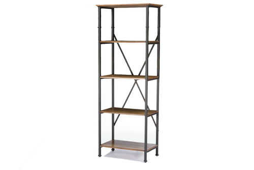 Baxton Studio Lancashire Brown Wood & Metal Bookcase