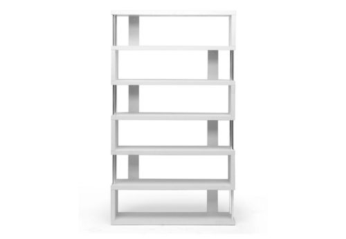 Baxton Studio Barnes White Six-Shelf Modern Bookcase