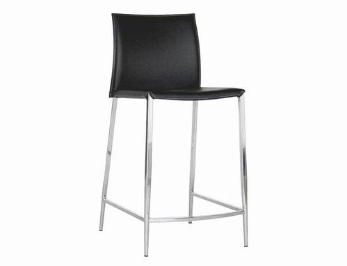 Baxton Studio Jenson Black Leather Counter Height Stool (Set of 2)