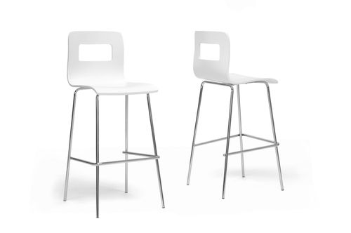 Baxton Studio Greta White Modern Bar Stool (Set of 2)