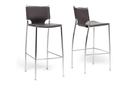 Baxton Studio Montclare Brown Leather Modern Bar Stool (Set of 2)