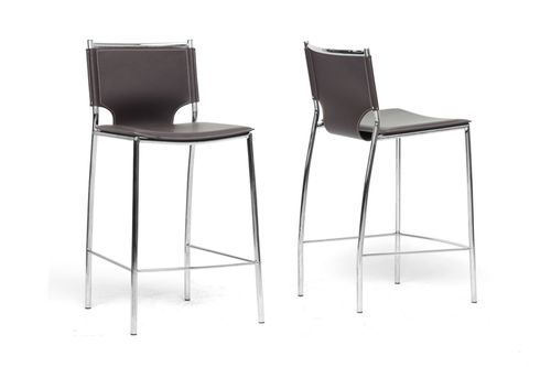Baxton Studio Montclare Brown Leather Modern Counter Stool (Set of 2)