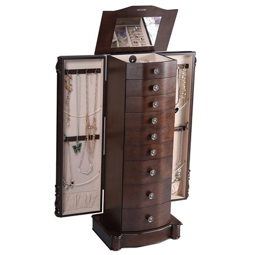 Dark Brown Wood Jewelry Armoire Storage Chest with Mirror